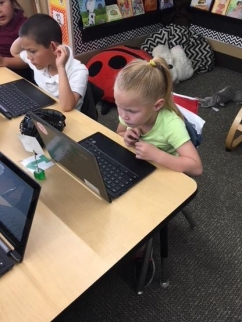 Picture of a student on task.