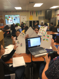 Image of students showing their work.