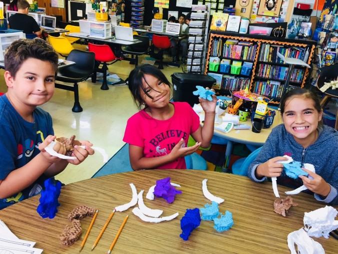 a picture of students showing off their 3D printed fossils!