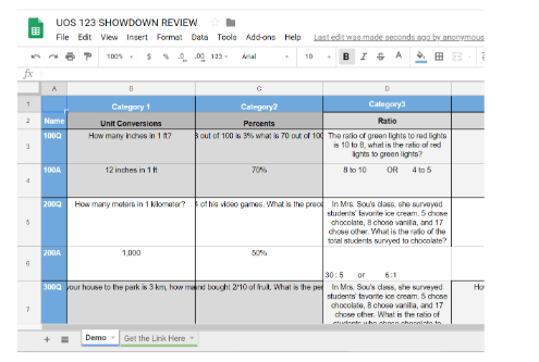 An image of a spreadsheet/study guide.